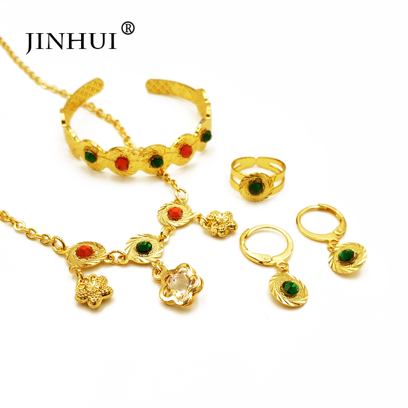 Jin Hui Ethiopian Jewelry Gold Sets Pendant Necklace Earring Ring Baby African Eritrea Jewelry Children Gifts