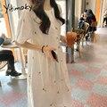 Женское платье с цветочной вышивкой Yitimoky, белое хлопковое платье до середины икры с коротким рукавом, милый свободный сарафан на подкладке, ...