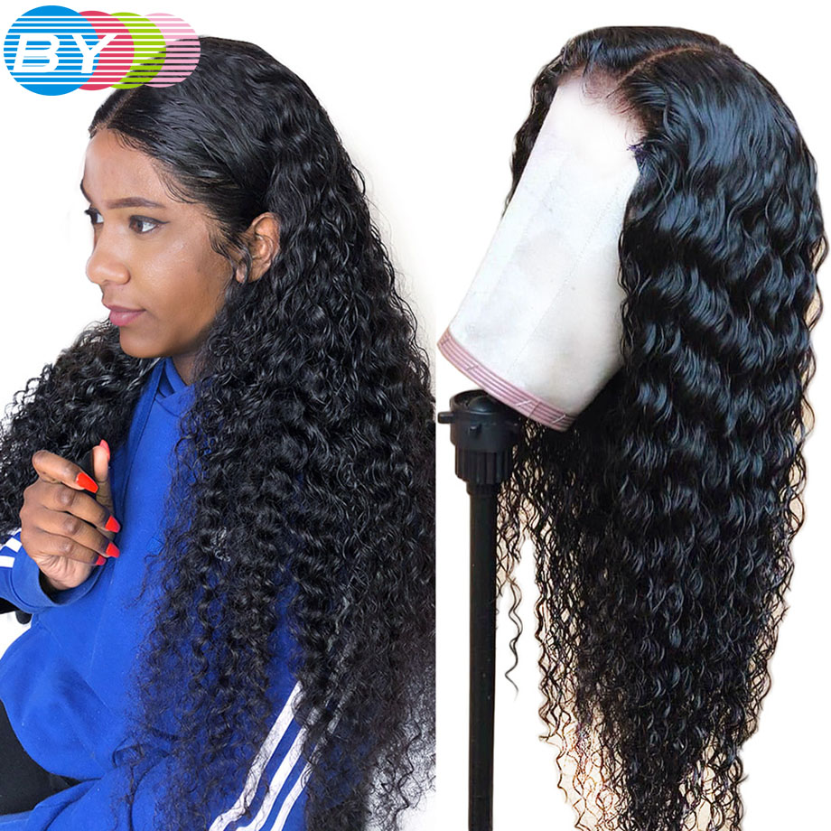 Deep Wave Wig Brazilian 4x4 Closure Wig Lace Front Human Hair Wigs For Black Women Pre Plucked With Baby Hair 150% BY