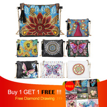 Hot 5D DIY Diamond Lukisan Merak Bunga Kupu-kupu Kulit Crossbody Rantai Tas DIY Diamond Bordir Tas Dompet Pouch Baru(China)