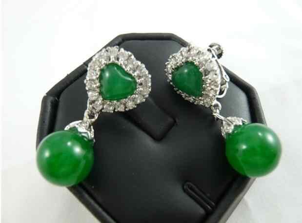 Jóias jade brinco 2 escolhas atacado verde/vermelho natural jade 18kgp cristal coração clip-on brincos frete grátis