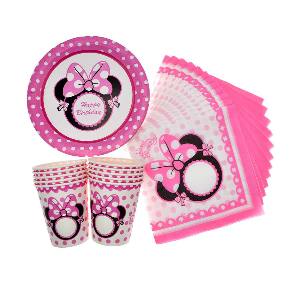 Mouse Disposable Pink Tableware Set Girls  Party Cup Plate Paper towel Straw baby shower Balloon Birthday cake decoration