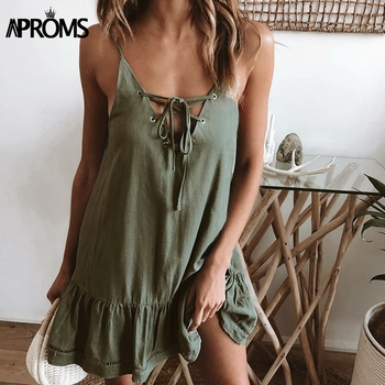 Aproms Elegant Lace Up V-neck Loose Cotton Dress Women Summer Sexy Low Back Green Mini Dresses Beach Sundresses Robe Femme 2020 1