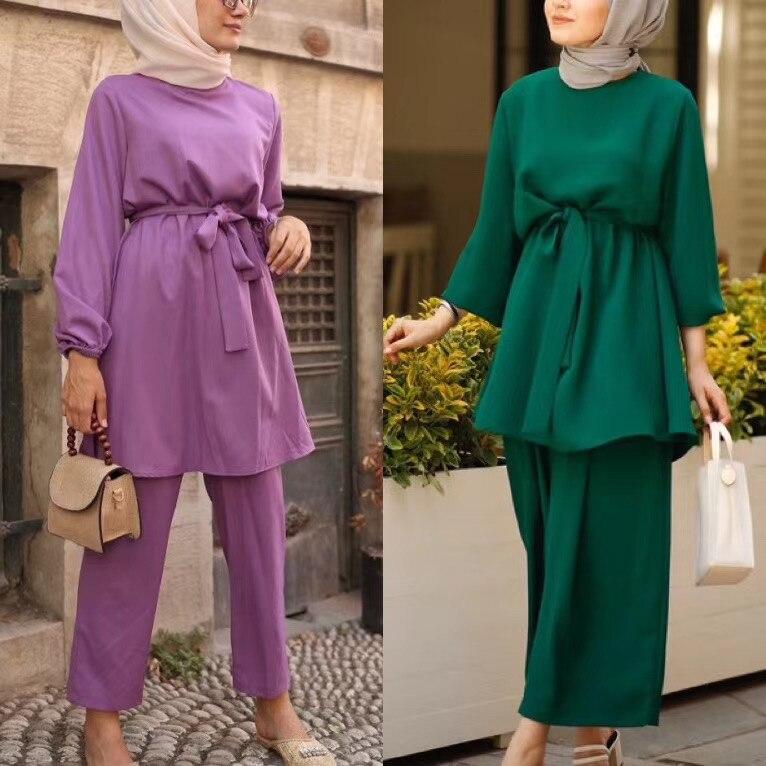 2 Buah Dubai Muslim Set Islam Atasan Celana Pakaian Wanita Kaftan Oman Turki Hijab Muslim Islam Gaun Ramadan Ropa F1767 Pakaian Islamic Aliexpress