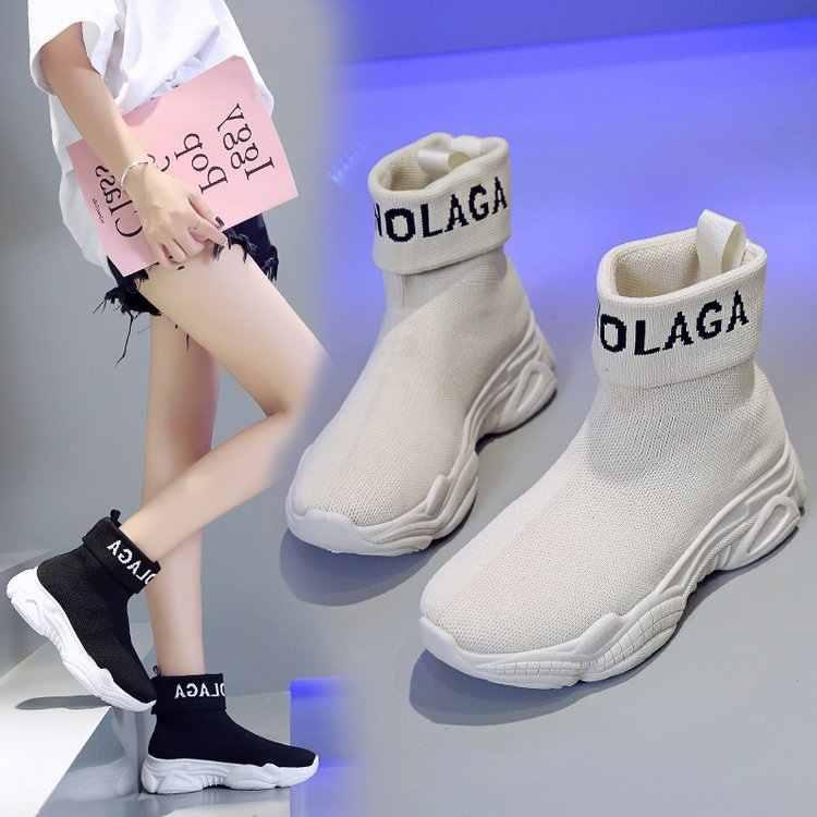 MHYONS Ins süper yangın elastik çorap ayakkabı kadın 2019 sonbahar yeni ulzzang rahat yüksek top sporcu ağı ayakkabı
