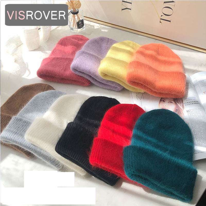 VISROVER 12 Colorways New Autumn Winter Hat Solid Color Cashmere Beanies For Woman Cashmere Unisex Warm Knitted Hat Wholesales