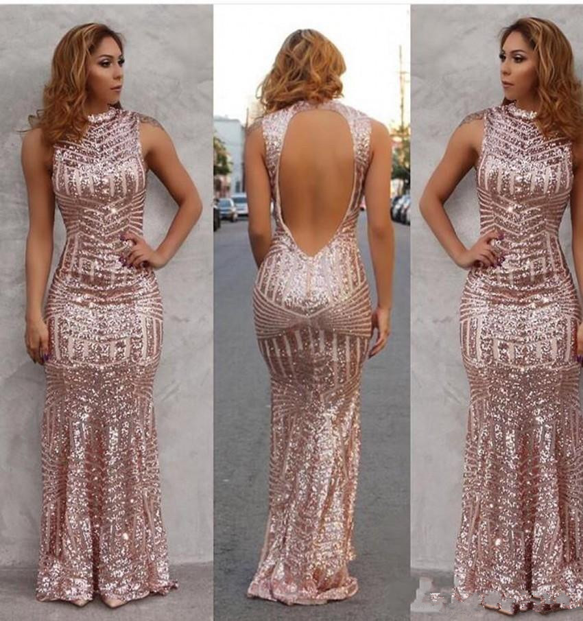 2019 New Sparkly Rose Gold Sexy Mermaid   Prom     Dresses   Sequined Open Back Floor Length Evening Party Gowns Custom Made Free Shipp