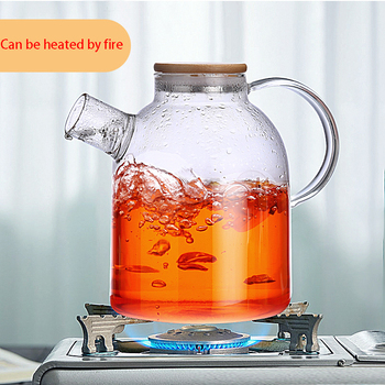 1500ml dużej pojemności czajniki Drinkware wysokiej jakości szkło odporne na ciepło czajniczek Puer herbata kwiatowa czajnik z bambusowa pokrywka tanie i dobre opinie CN (pochodzenie) 1 5l Transparent Teapot Glass pot pot two pot four + tray Hard borosilate glass Tea set 12 8*17*8cm 400g 600g