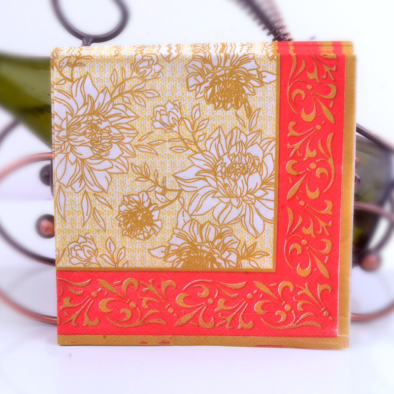 Red Gold Rose Printed Napkin Dining Mat Wine Bowl Stained Paper Napkin Hotel Wedding Evening Paper