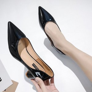 Image 4 - European style girl high heels female 2019 spring new women pumps wild pointed shallow mouth thick with single shoes work shoes