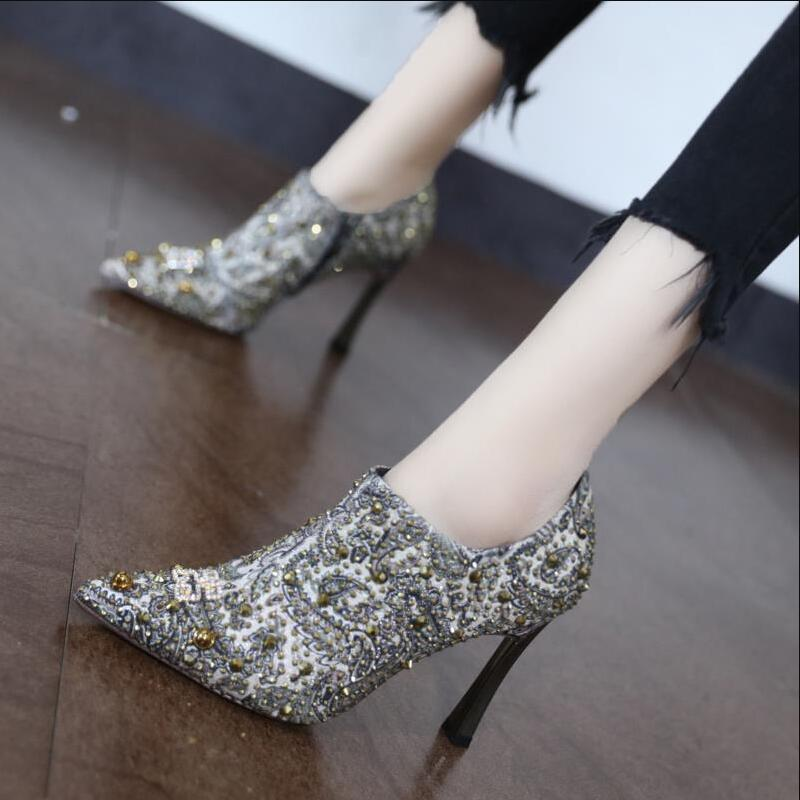 Womens Bling Rhinestones Pointed Toe Party Shoes High Block Heel Zip Ankle Boots