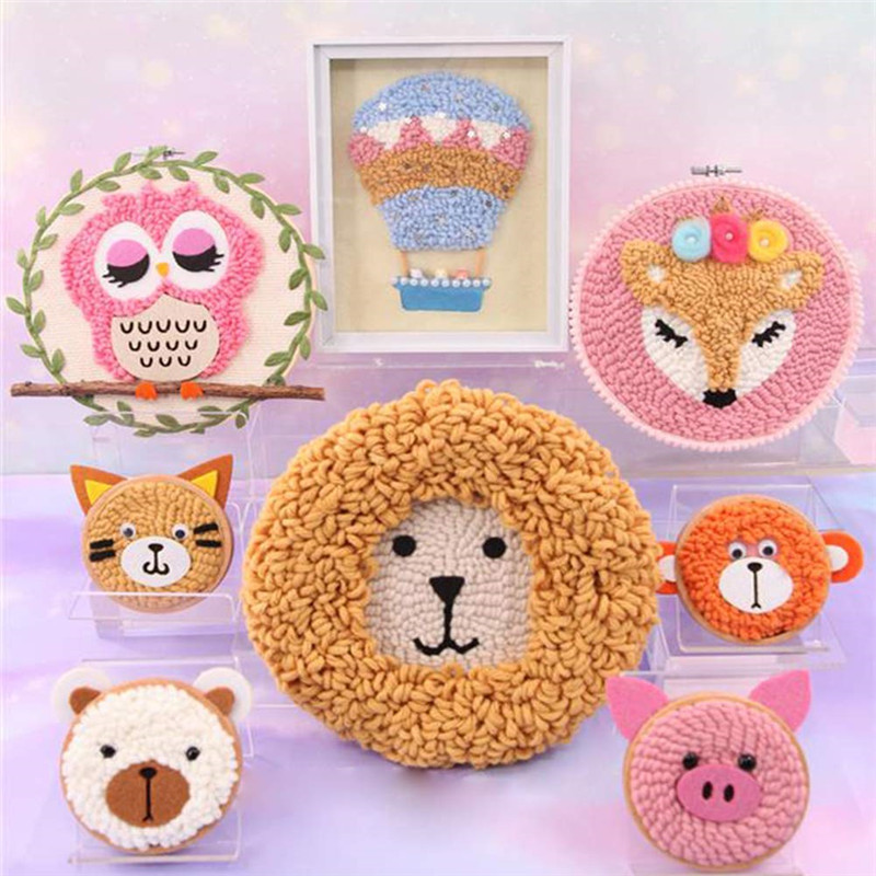 Wooden Magic Embroidery Pen Punch Needle Felting Threader Set Needlework Kit with Embroidery Hoop Fabric Cloth Set For Women (5)