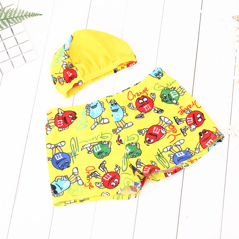 New Style Listed BOY'S Swimming Trunks Send Swimming Cap Superman Pattern Size Code Boy Hot Springs Beach Bathing Suit Swimming