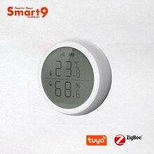 Smart9 زيجبي استشعار درجة الحرارة والرطوبة مع شاشة LCD تعمل مع تويا زيجبي هاب ، بطارية تعمل بالطاقة الحياة الذكية