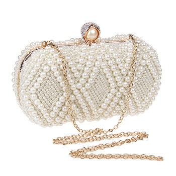 Luxury Women Pearl Beaded Evening Bag Meatal Frame Fashion Clutch Purse High-end Rectangle Handbag for Lady Girl Party Banquet