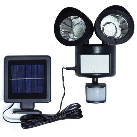 luz solar 48 leds dupla cabeca sensor de movimento spotlight ip65 a prova dwaterproof agua