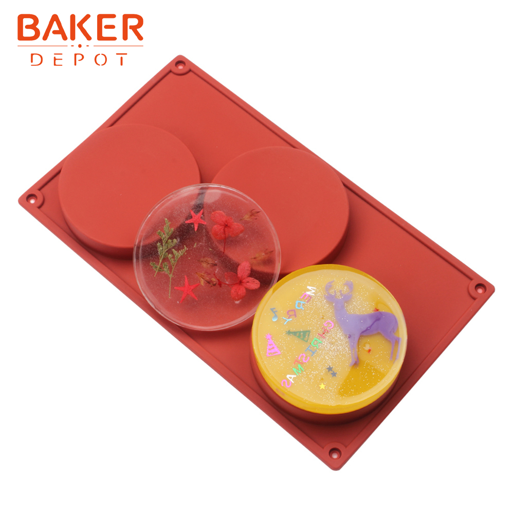 <font><b>BAKER</b></font> <font><b>DEPOT</b></font> Silicone Mold for cake pastry Large Round soap resin mould Disc cake decorating tool 3 Cavity Cylinder Pudding Mould image