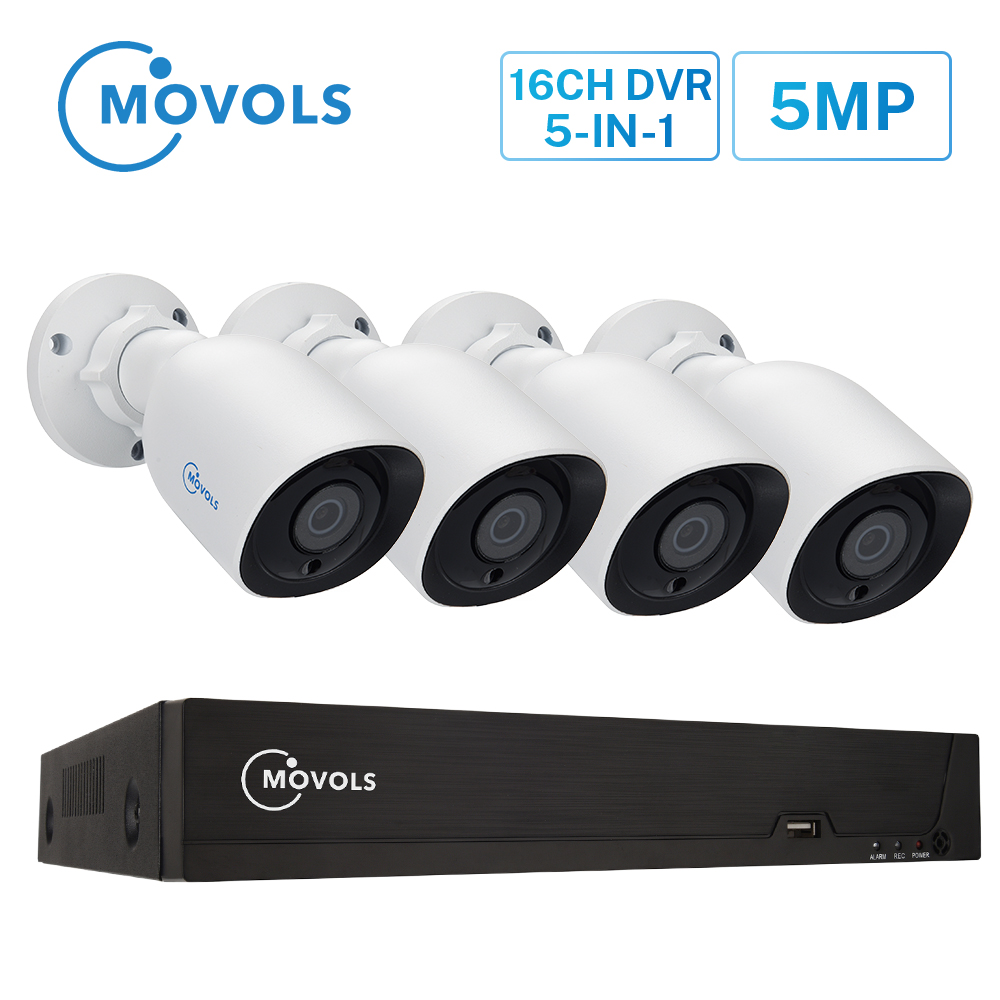 MOVOLS H.265 Video Surveillance System 5MP HD H.265 DVR 4PCS CCTV Camera Night Vision Waterproof  Security Camera System Kit|Surveillance System| |  - title=