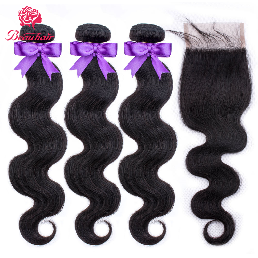 Natural Hair Brazilian Body Wave Bundles With Closure 4*4 Lace Closure Human Hair Weave Bundles With Closure Remy Hair Extension