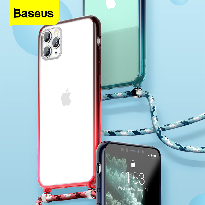 Baseus Luxury Crossbody Phone Case Lanyards Clear Back Cover Transparent for iPhone 11 Pro Max for Women Men Design Strap Cases