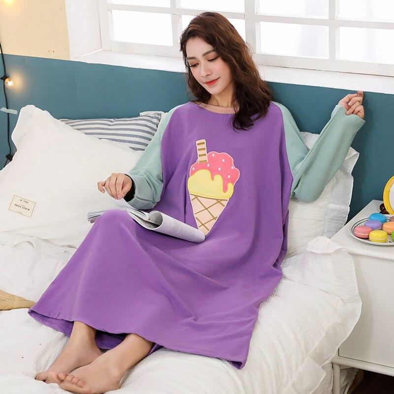 Spring Summer Loose Women Cartoon Sleepwear Leisure Long Sleeve Thin Nightgowns Printing  Food Clothes Oversize Nightdress