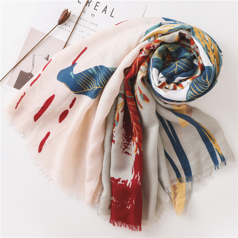 Image 4 - Large Size Summer Cotton Tassel Scarf Flower Pattern Sunscreen Large Shawl Silk Scarf Beach Towel for WomanWomens Scarves   -