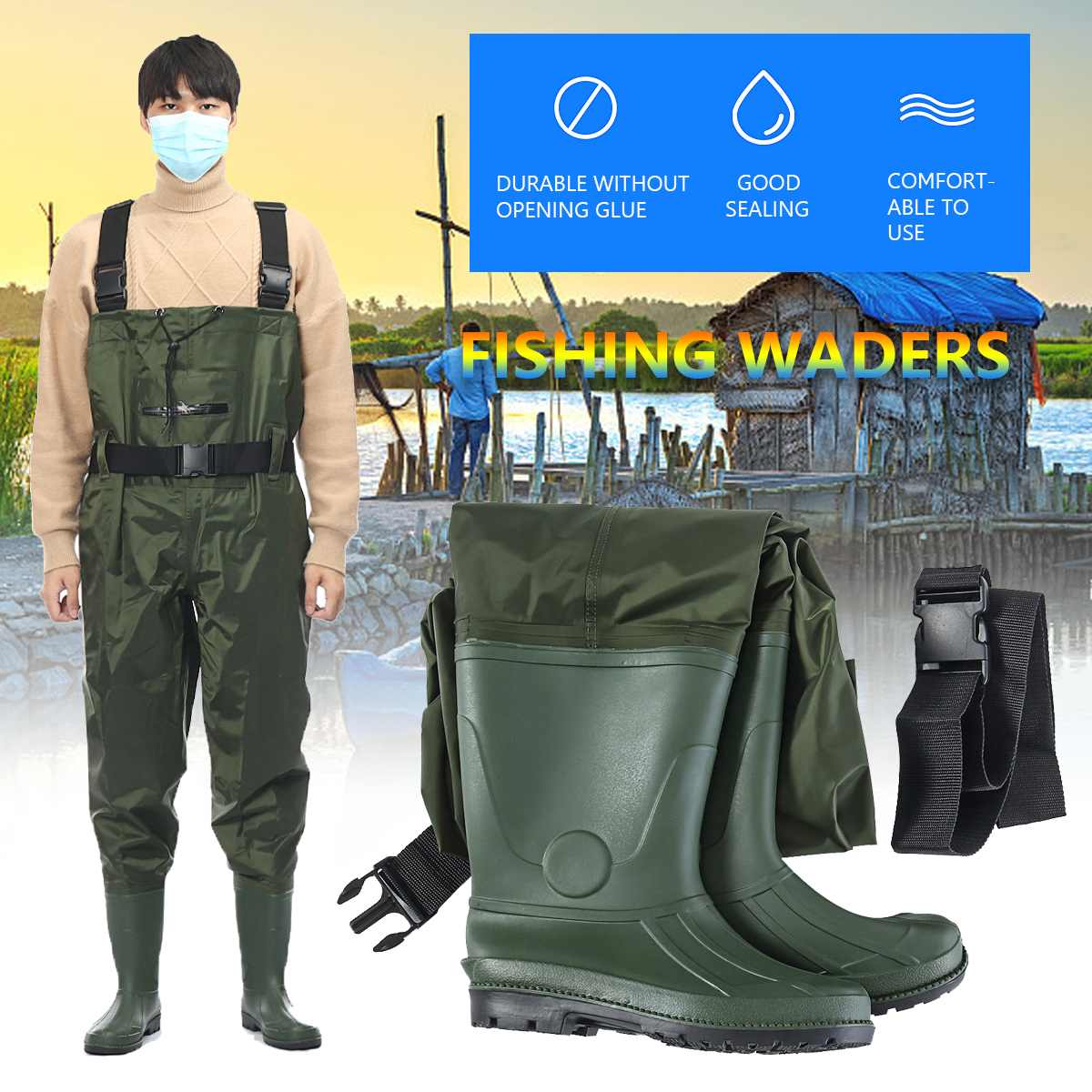 42 43 44 Sizes Outdoor Fishing Waders Wellies PVC Chest Men Boot Foot Breathable Nylon Clothing Pants Fishing Apparels For Men