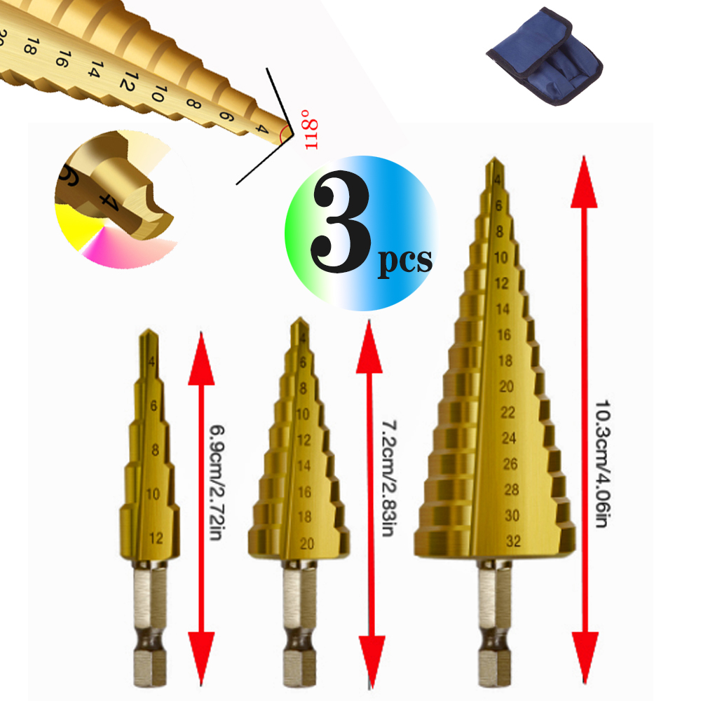 Wholesales Step Drill Bit 3pcs  Titanium Steel Woodworking Metal Drilling Set Step Cone Cutting Tools