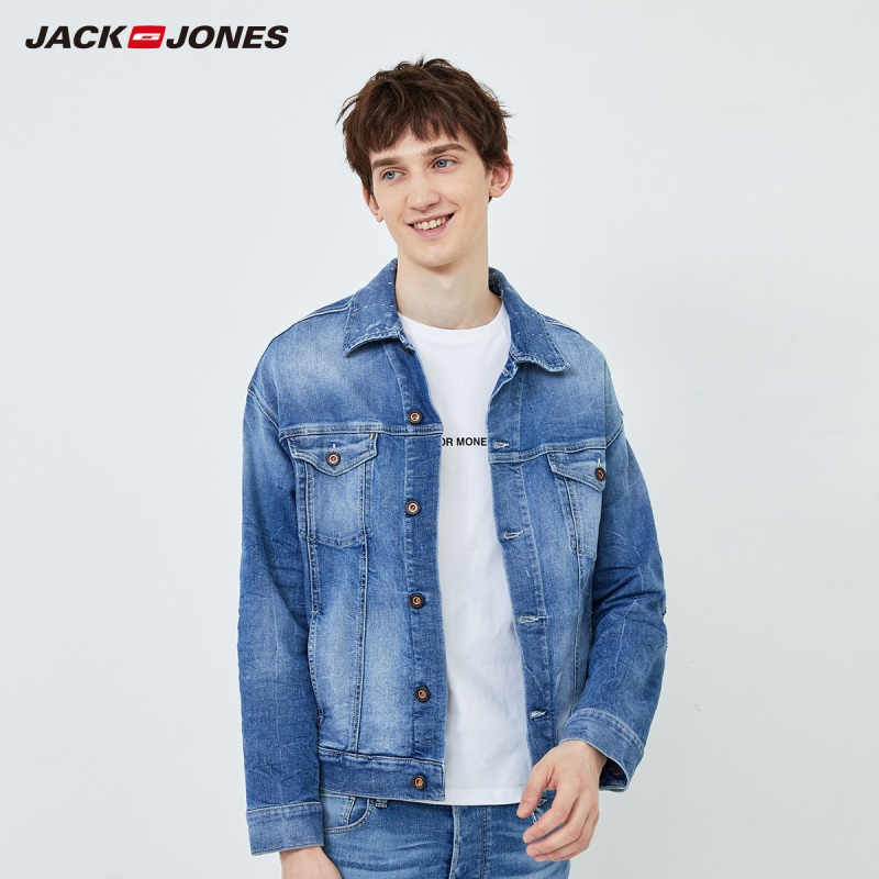 JackJones Men's Spring New Fashion Washed Denim Jacket Menswear| 219357505