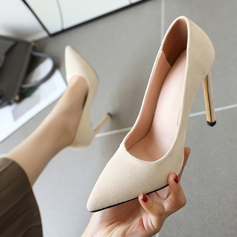 Donna-in 2020 Shallow Suede High Heels Women Pumps Autumn New Fashion Sexy Stiletto Woman Shoes Wedding Party Shoe Large Size