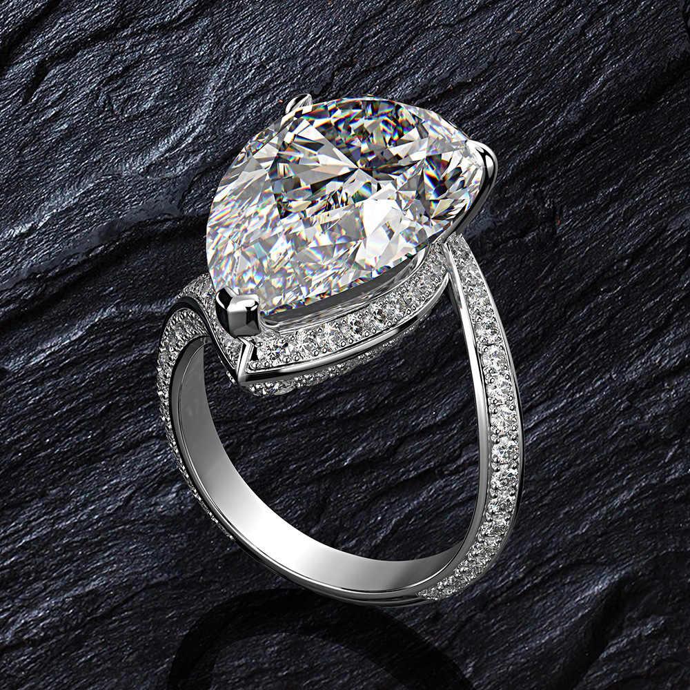 Wong Hujan Mewah 100% 925 Sterling Silver Dibuat Moissanite Batu Permata Pernikahan Pertunangan Berlian Cincin Fine Perhiasan Grosir