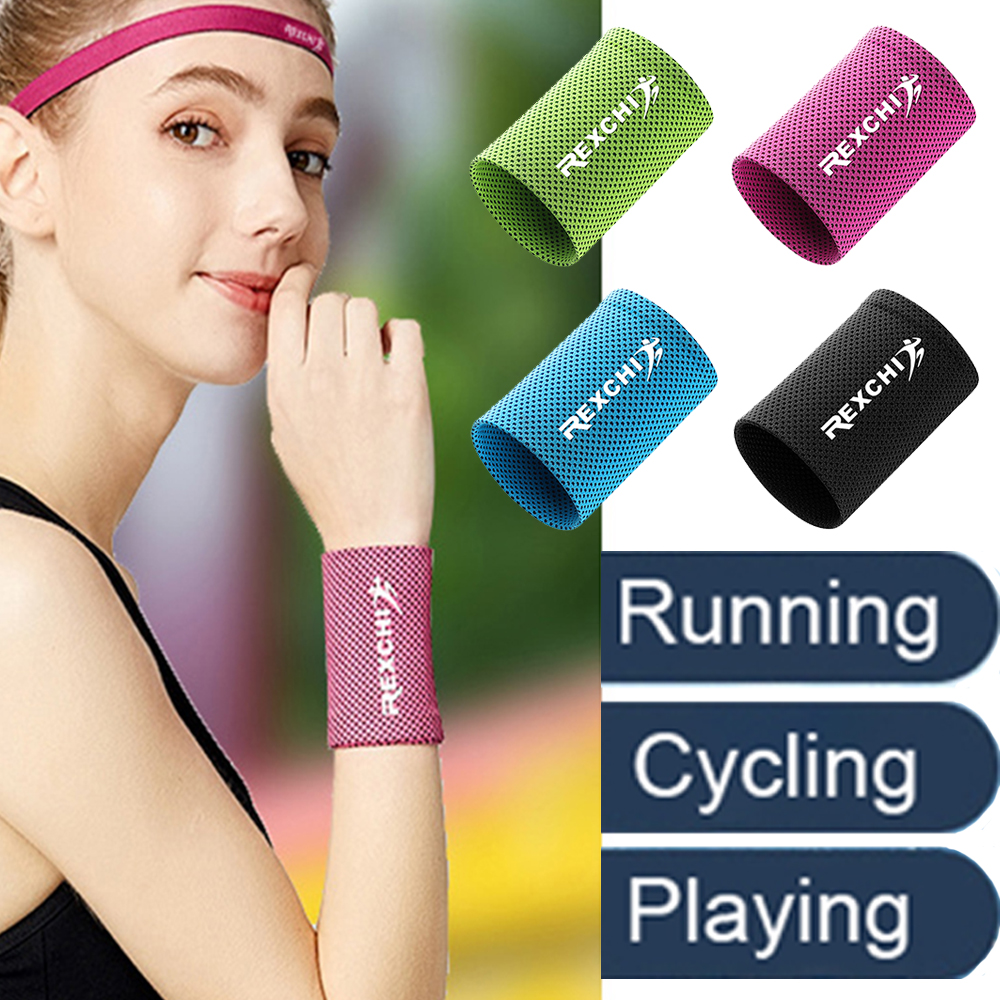 1pcs Wrist Brace Support Breathable Ice Cooling Sweat Band Tennis Wristband Wrap Sport Sweatband For Gym Yoga Volleyball 2