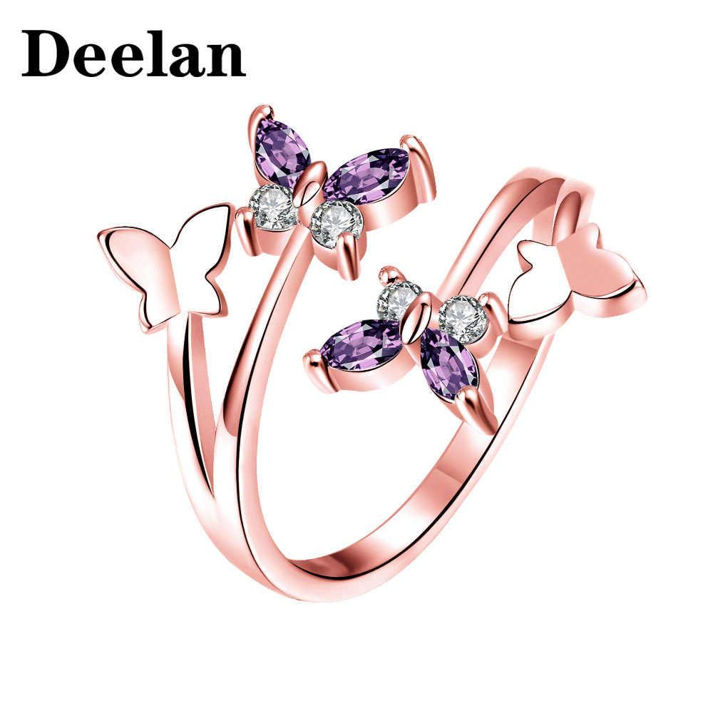 DEELAN ผู้หญิงปรับขนาดได้คริสตัล CZ Zircon ผีเสื้อเครื่องประดับ Charm สาวงานแต่งงานเจ้าสาว Rose Gold แหวน
