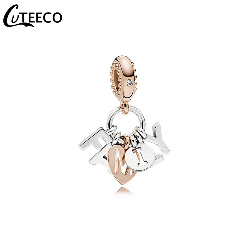 CUTEECO 2019 New I Love My Family Pendant Charm Bracelet For Women Birthday Gift Bangle Fashion Jewelry in Charm Bracelets from Jewelry Accessories