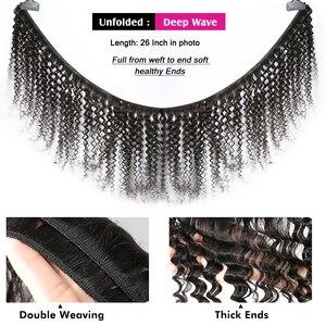 Image 5 - Rosabeauty derin dalga 28 30 inç 3 4 demetleri brezilyalı Remy saç 100% insan saç uzatma doğa örgü su kıvırcık