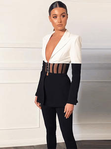 Ocstrade Fall Clothes for Women Two Piece Set Runway 2020 Sexy Black and White 2 Piece