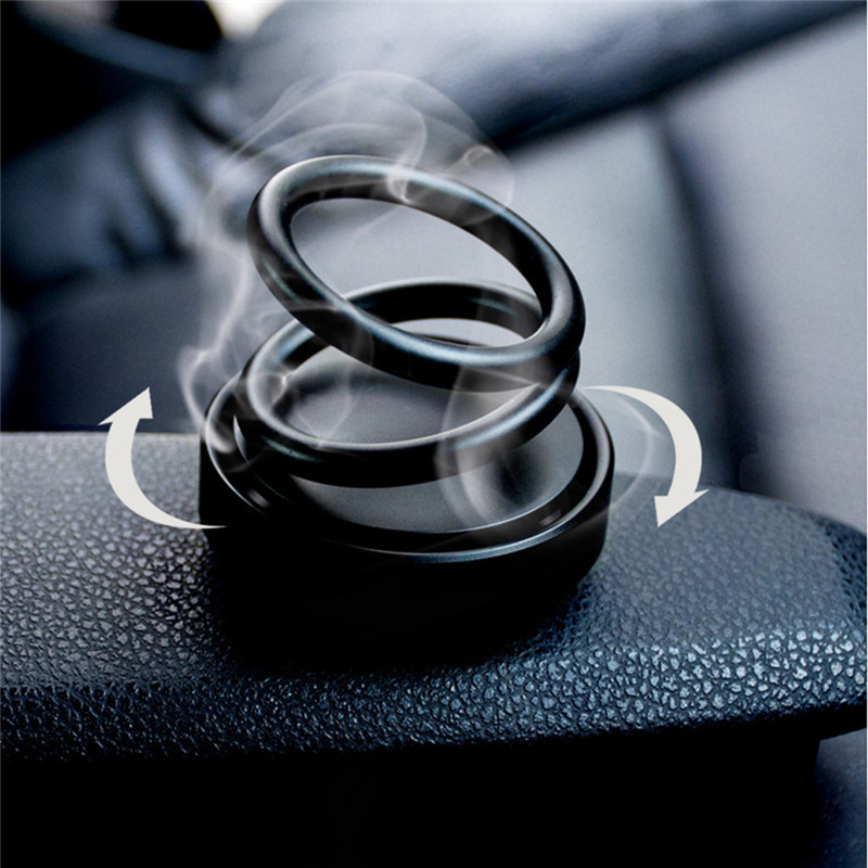 360 Suspension Car Air Freshener Rotation Creative Double Ring Rotating Car Perfume Air Freshener Car Fragrance Accessories