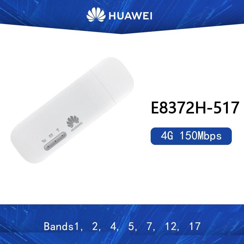 Versión estadounidense desbloqueada Huawei E8372 E8372h-517 4G FDD banda B1/B2/B4/B5/B12/B17 compatible con módem LTE de 10 usuarios Wifi Antena 5G WiFi de doble banda 6DBi omnidireccional, Conector de clavija, Base magnética 667C