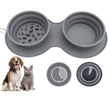Slow Feeder Collapsible Dog Bowl Anti-Gulping Anti-Choking Slow Feeder Eco-Friendly Durable Portable Pet Feed or Water Bowl Safe