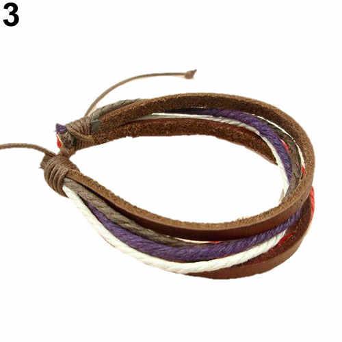 צמידים לנשים וגברים וינטג שבטי רב שכבתי ססגוניות פו עור מתכוונן צמיד