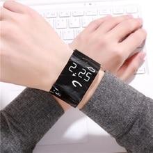 Su geçirmez yaratıcı iyi görünümlü bileklik kağıt izle LED saat İzle dijital kağıt kayış saatler spor izle kol saati