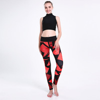 New Arrival Women Leggings Sexy Girl With Roses Printed Leggings Gothic Fitness Workout Leggings Mid Waist Pants S 4XL