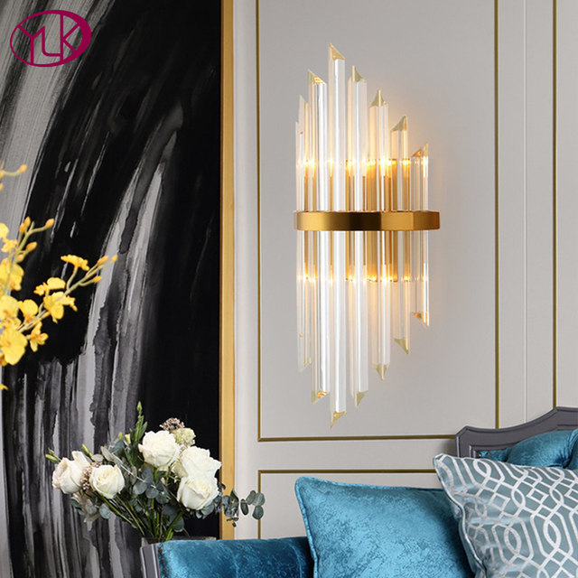 Youlaike Luxury Gold Wall Lamp Modern Crystal Wall Sconce Lighting Fixture Living Room Bedside Stainless Steel LED Wall Light