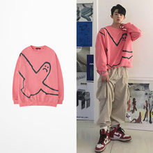 Ulzzang Net Red Lustig Sweatshirt Männer Hip Hop High Street Fliegen Vogel Print Harajuku Rosa Hoodies Skateboard Joyce Byers Elf(China)
