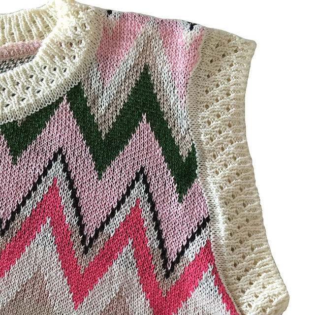 2020 New Sweet Contrast Crochet Elegant Women Mini Dresses Elastic Cotton Knit Pink Sweater Dress Fashion Sleeveless O-neck Sexy 5