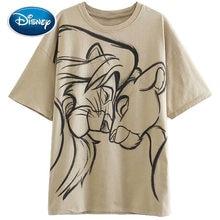 T-Shirt manches courtes en coton pour femmes, imprimé dessin animé Disney, le roi Lion, Simba Nala, Harajuku, corée du sud