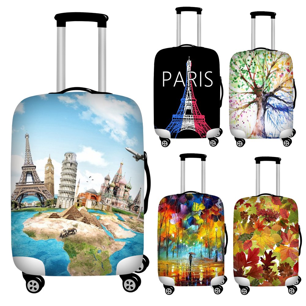 Twoheartsgirl Stretch Paris Print Travel Luggage Covers Waterproof Suitcase Cover For 18''-32'' Trunk Case Travel Accessories