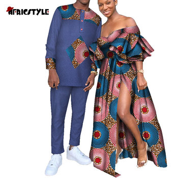 2020  African Dresses for Women African Dresses for Couples Shirt and Pants Sets Lover Couples Clothes Print Long Dress Wyq623