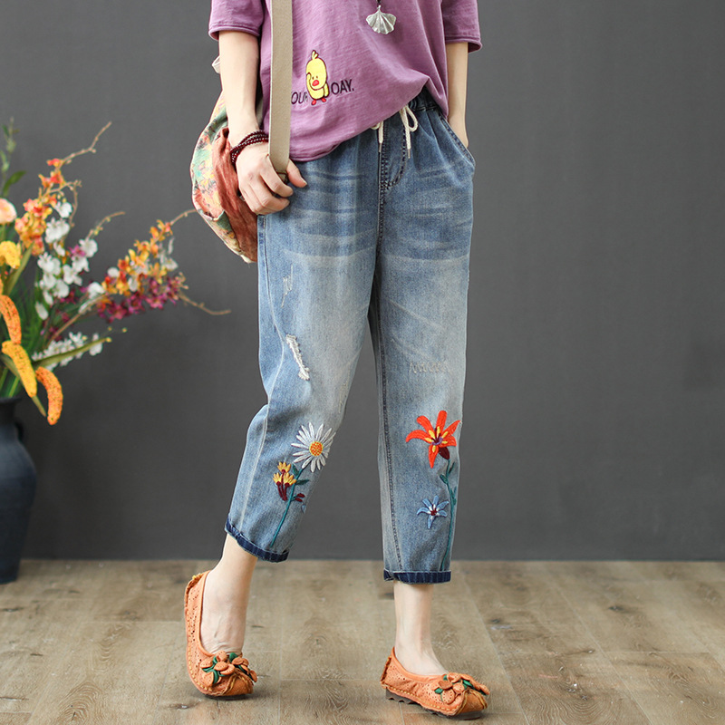 National Wind Vintage Washed Women Jeans Floral Embroidery Sen Female Casual Loose Harem Denim Pants Elastic Waist Jean Femme