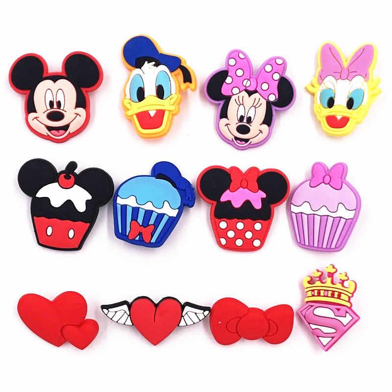 1 Pcs Kartun Minnie Super Man Logo Mahkota Bros untuk Anak-anak Hadiah Pesta Mickey Daisy Hati Diy Pakaian Lencana Ransel pin